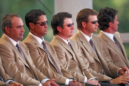 Angel Cabrera, Michael Campbell, Tim Clark, Retief Goosen and Mark Hensby of the International team during the opening ceremony of The Presidents Cup at Robert Trent Jones Golf Club in Prince William County, Virginia on September 22, 2005.Photo by Chris Condon/PGA TOUR/WireImage.com