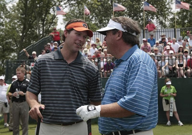 BIRMINGHAM, AL - MAY 14: Former Auburn quarterback Stan White (L) talks with Joey Sindelar on the first tee during the Thursday Pro-AM of the Regions Charity Classic at the Robert Trent Jones Golf Trail at Ross Bridge on May 14, 2009  in Birmingham, Alabama. (Photo by Dave Martin/Getty Images)