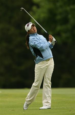 CLIFTON, NJ - MAY 17: Ji Young Oh of South Korea hits her second shot on the 14th hole during the final round of the Sybase Classic presented by ShopRite at Upper Montclair Country Club on May 17, 2009 in Clifton, New Jersey. (Photo by Hunter Martin/Getty Images)