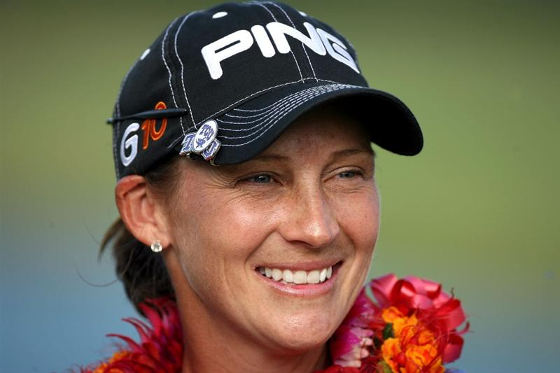 KAHUKU, HI - FEBRUARY 14:  Angela Stanford is pictured after winning the SBS Open on February 14, 2009 at the Turtle Bay Resort in Kahuku, Hawaii.  (Photo by Andy Lyons/Getty Images)