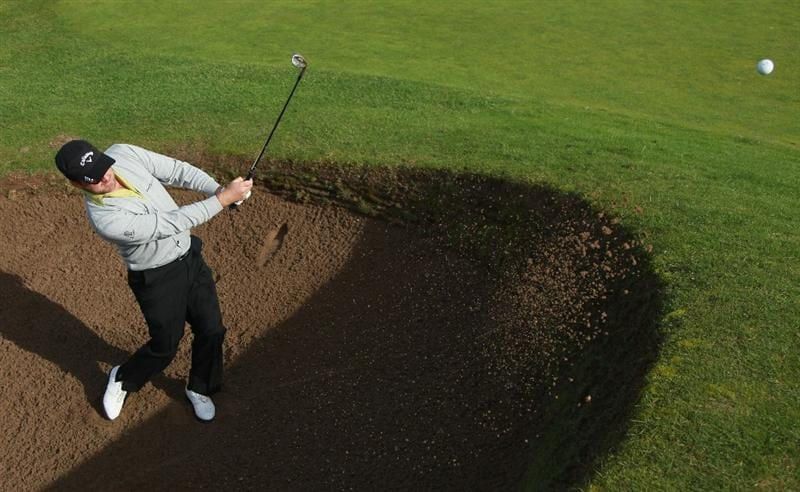 CARNOUSTIE, SCOTLAND - OCTOBER 06:  Graeme McDowell of Northern Ireland in action during a practice round for The Alfred Dunhill Links Championship at Carnoustie Golf Links on October 6, 2010 in Carnoustie, Scotland.  (Photo by Andrew Redington/Getty Images)