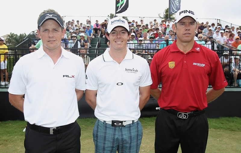 Luke Donald, Rory McIlroy and Lee Westwood