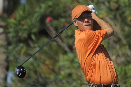 NAPLES, FL - FEBRUARY 16: Ben Crenshaw tees off on the 10th hole during the second round of the ACE Group Classic at Quail West on February 16, 2008 in Naples, Florida. (Photo by Scott A. Miller/Getty Images)