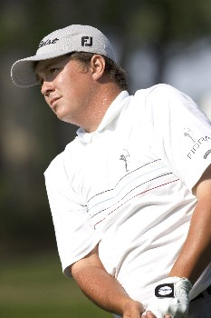 Jason Dufner watches his tee shot early on Thursday during the Rheem Classic at Hardscrabble Country Club in Fort Smith, Arkansas on Thursday May 12, 2005. Photo by Wesley Hitt/WireImage.com