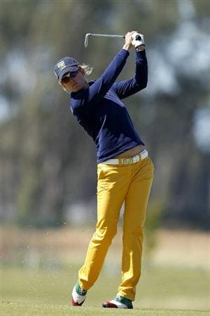 PEGASUS, NEW ZEALAND - FEBRUARY 17: Giulia Sergas of Spain plays a shot on the 10th hole during day one of the Women's New Zealand Open at Pegasus Golf Club on February 17, 2011 in Pegasus, New Zealand.  (Photo by Martin Hunter/Getty Images)