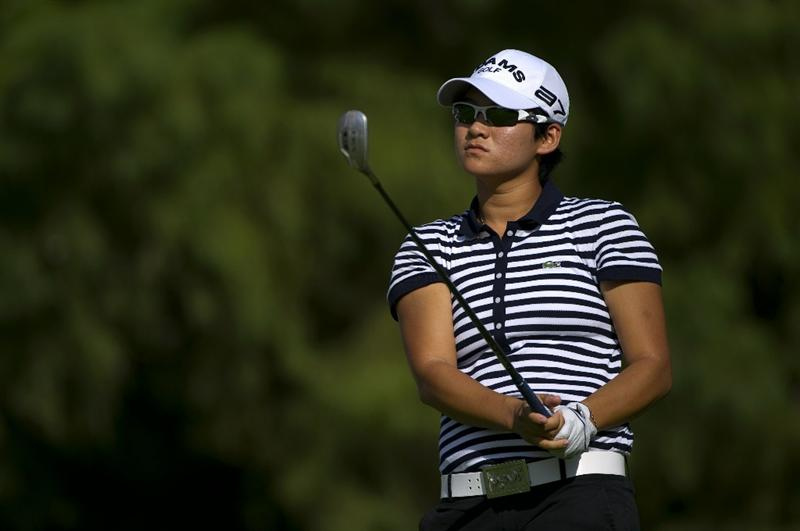 ROGERS, AR - SEPTEMBER 10:  Yani Tseng of Taiwan makes a tee shot during the first round of the P&G NW Arkansas Championship at the Pinnacle Country Club on September 10, 2010 in Rogers, Arkansas.  (Photo by Robert Laberge/Getty Images)