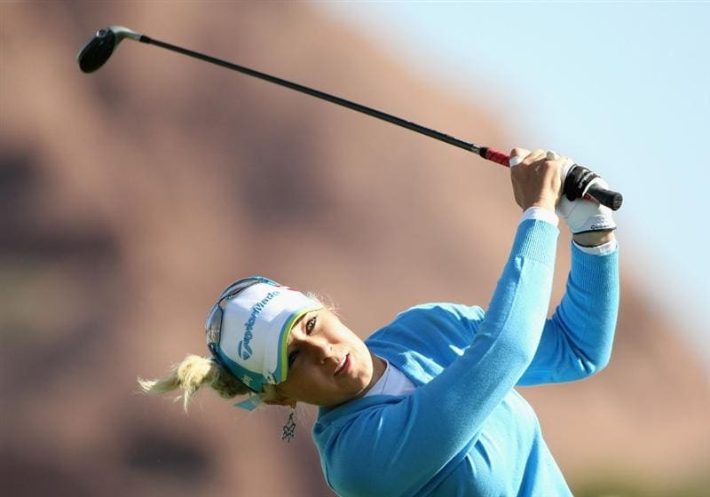 TEMPE, AZ - MARCH 26:  Natalie Gulbis tees off on the 13th hole during the first round of the J Golf Phoenix LPGA International golf tournament at Papago Golf Course on March 26, 2009 in Tempe, Arizona.  (Photo by Christian Petersen/Getty Images)