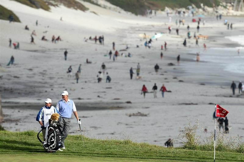 PEBBLE BEACH, CA - JUNE 19:  Ernie Els of South Africa waits to putt on the ninth hole during the third round of the 110th U.S. Open at Pebble Beach Golf Links on June 19, 2010 in Pebble Beach, California.  (Photo by Ross Kinnaird/Getty Images)