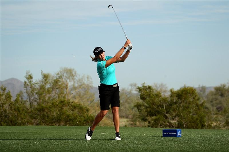 PHOENIX, AZ - MARCH 18:  Cristie Kerr hits her tee shot on the 17th hole during the first round of the RR Donnelley LPGA Founders Cup at Wildfire Golf Club on March 18, 2011 in Phoenix, Arizona.  (Photo by Stephen Dunn/Getty Images)