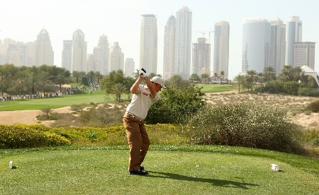 DUBAI, UNITED ARAB EMIRATES - FEBRUARY 02:  Damien McGrane of Ireland hits his tee-shot on the eighth hole during the third round of the Dubai Desert Classic on the Majilis course at Emirates Golf Club on February 2, 2008 in Dubai, United Arab Emirates.  (Photo by Andrew Redington/Getty Images)