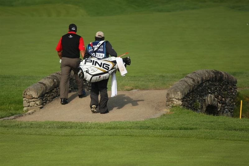 LUSS, UNITED KINGDOM - JULY 09:   Angel Cabrera of Argentina crosses the bridge on the 13th hole during the First Round of The Barclays Scottish Open at Loch Lomond Golf Club on July 09, 2009 in Luss, Scotland. (Photo by Andrew Redington/Getty Images)