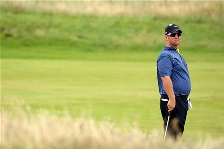 SOUTHPORT, UNITED KINGDOM - JULY 15:  David Duval of the USA looks on during the second practice round of the 137th Open Championship on July 15, 2008 at Royal Birkdale Golf Club, Southport, England.  (Photo by Stuart Franklin/Getty Images)