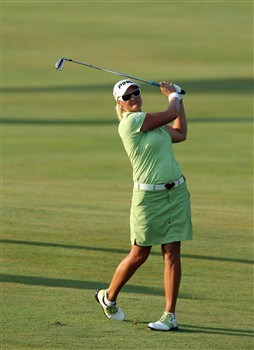 HAVRE DE GRACE, MD - JUNE 08: Maria Hjorth of Sweden hits her second shot at the 18th hole during the final round of the 2008 McDonald's LPGA Championship held at Bulle Rock Golf Course, on June 8, 2008 in Havre de Grace, Maryland. (Photo by David Cannon/Getty Images)