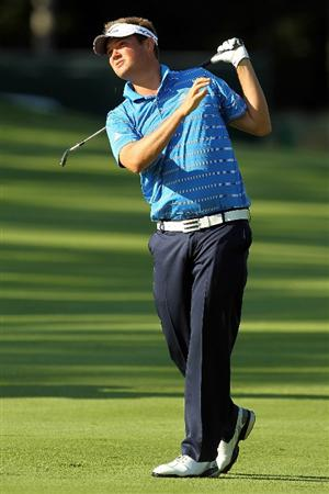 NORTON, MA - SEPTEMBER 04:  Jeff Overton hits a shot on the 13th hole during the second round of the Deutsche Bank Championship at TPC Boston on September 4, 2010 in Norton, Massachusetts.  (Photo by Mike Ehrmann/Getty Images)