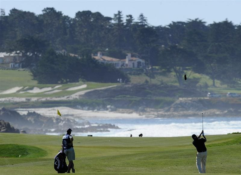 PEBBLE BEACH, CA - FEBRUARY 10:  Phil Mickelson plays a shot during the first round of the AT&T Pebble Beach National Pro-Am at Monterey Peninsula Country Club on February 10, 2011  in Pebble Beach, California.  (Photo by Stuart Franklin/Getty Images)