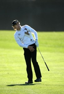 Camilo Villegas of Columbia watches his second shot on the 18th hoile during the first round of the FBR Open on January 31, 2008 at TPC of Scottsdale in Scottdsdale, Arizona. PGA TOUR - 2008 FBR Open - Round OnePhoto by Stephen Dunn/Getty Images
