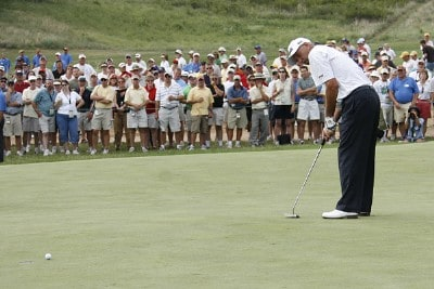 Mark James watches a putt fall in on hole 16 during the third round of the U.S. Senior Open at Prairie Dunes Country Club in Hutchinson,  Kansas on July 8, 2006.Photo by G. Newman Lowrance/WireImage.com