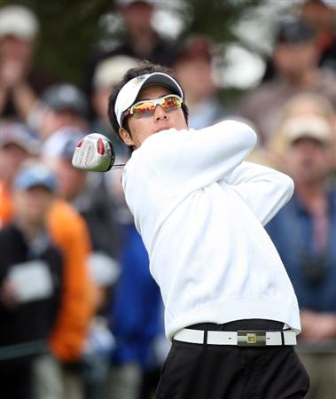 SAN FRANCISCO - OCTOBER 10: Ryo Ishikawa of Japan and The International Team tees off at the 6th hole during the Day Three Afternoon Fourball Matches in The Presidents Cup at Harding Park Golf Course on October 10, 2009 in San Francisco, California  (Photo by David Cannon/Getty Images)