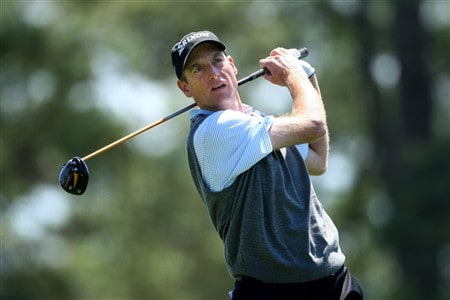 AUGUSTA, GA - APRIL 13: Jim Furyk hits his tee shot on the first hole during the final round of the 2008 Masters Tournament at Augusta National Golf Club on April 13, 2008 in Augusta, Georgia.  (Photo by Andrew Redington/Getty Images)