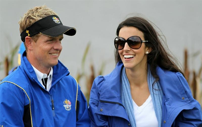 NEWPORT, WALES - OCTOBER 03:  Luke Donald of Europe smiles with wife Diane during the  Fourball & Foursome Matches during the 2010 Ryder Cup at the Celtic Manor Resort on October 3, 2010 in Newport, Wales.  (Photo by Jamie Squire/Getty Images)