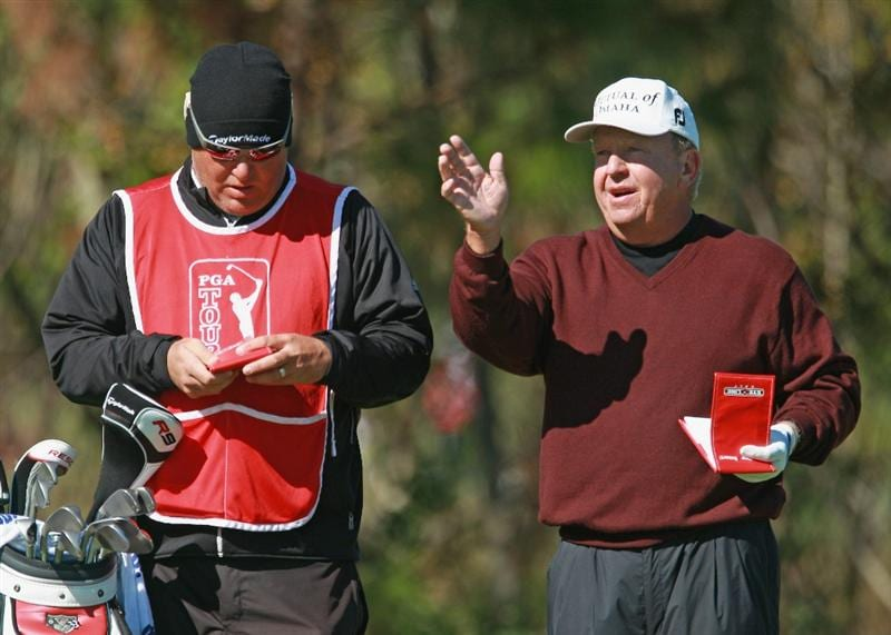 WINTER GARDEN, FL- DECEMBER 06:  Billy Mayfair chats with his caddie during the final round of the PGA Tour Qualifying Tournament at Orange County National on December 6, 2010 in Winter Garden, Florida.  (Photo by Scott Halleran/Getty Images)