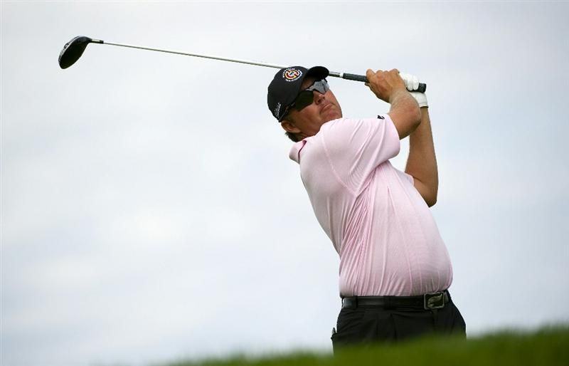 SAN MARTIN, CA - OCTOBER 16:  Bo Van Pelt makes a tee shot on the sixth hole during the third round of the Frys.com Open at the CordeValle Golf Club on October 16, 2010 in San Martin, California.  (Photo by Robert Laberge/Getty Images)