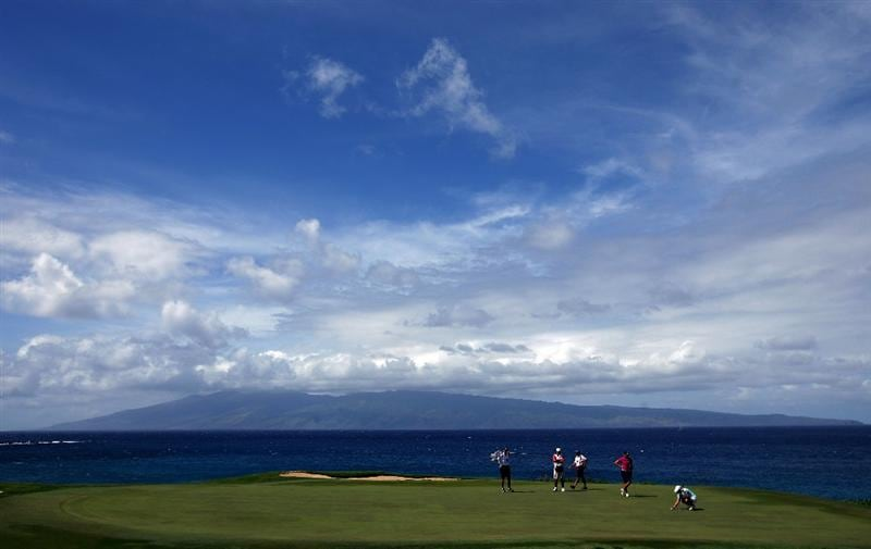 KAPALUA, HI - OCTOBER 17:  Christie Kerr lines up her putt as Suzann Pettersen of Norway looks on the fifth hole during the second round of the Kapalua LPGA Classic on October 17, 2008 at the Bay Course in Kapalua, Maui, Hawaii.  (Photo by Donald Miralle/Getty Images)