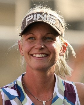 HUIXQUILUCAN, MEXICO - MARCH 16:  Louise Friberg of Sweden smiles after winning the MasterCard Classic at Bosque real Country Club on March 16, 2008 in Huixquilucan, Mexico  (Photo by Scott Halleran/Getty Images)