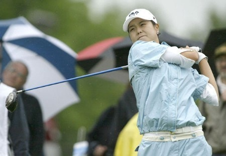 Hee-Won Han drives during the first round of the 2005 Wegman's Rochester LPGA at Locust Hill Country Club in  Pittsford, New York on June 16, 2005.Photo by Michael Cohen/WireImage.com