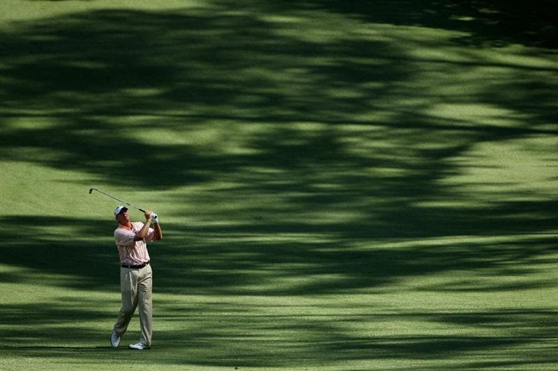 AUGUSTA, GA - APRIL 06:  Steve Stricker hits a shot during a practice round prior to the 2010 Masters Tournament at Augusta National Golf Club on April 6, 2010 in Augusta, Georgia.  (Photo by Andrew Redington/Getty Images)