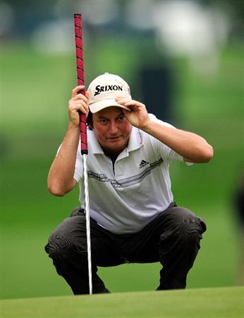 AKRON, OH - AUGUST 08:  Tim Clark of South Africa looks over a shot on the 2nd hole during the third round of the WGC-Bridgestone Invitational on the South Course at Firestone Country Club on August 8, 2009 in Akron, Ohio.  (Photo by Sam Greenwood/Getty Images)
