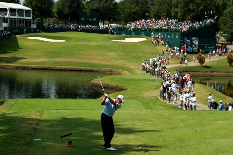 ATLANTA - SEPTEMBER 25:  Steve Stricker takes a swing on the 18th tee during the third round of THE TOUR Championship presented by Coca-Cola at East Lake Golf Club on September 25, 2010 in Atlanta, Georgia.  (Photo by Scott Halleran/Getty Images)