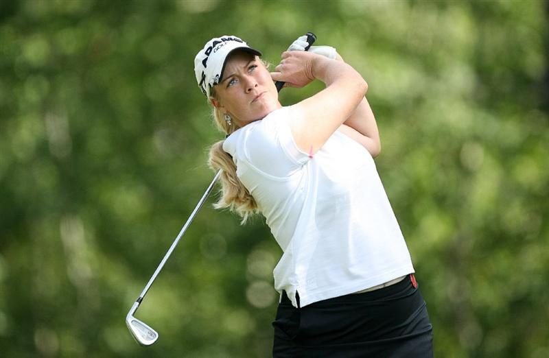 CALGARY, AB - SEPTEMBER 04 : Brittany Lincicome of the United States hits her tee shot on the eighth hole during the second round of the Canadian Women's Open at Priddis Greens Golf & Country Club on September 4, 2009 in Calgary, Alberta, Canada. (Photo by Hunter Martin/Getty Images)