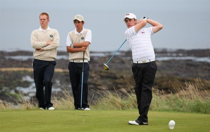 ST. ANDREWS, UNITED KINGDOM - AUGUST 30:  Tommy Fleetwood of Great Britain & Ireland tees off on the third hole during the foursomes matches of The Jacques Leglise Trophy 2008 between Great Britain & Ireland and the Continent of Europe, held at Kingsbarns Golf Club, on August 30, 2008. in Fife, Scotland.  (Photo by Warren Little/Getty Images)