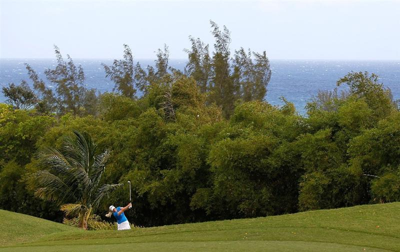 MONTEGO BAY, JAMAICA - APRIL 15:  Brittany Lincicome of the United States plays her second shot from the rough on the third hole during the first round of The Mojo 6 Jamaica LPGA Invitational at Cinnamon Hill Golf Course on April 15, 2010 in Montego Bay, Jamaica.  (Photo by Kevin C. Cox/Getty Images)