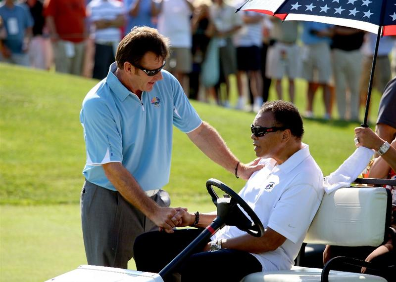 LOUISVILLE, KY - SEPTEMBER 18:  European team captain Nick Faldo shakes hands with boxing great Muhammad Ali prior to the 2008 Ryder Cup at Valhalla Golf Club on September 18, 2008 in Louisville, Kentucky.  (Photo by Andrew Redington/Getty Images)
