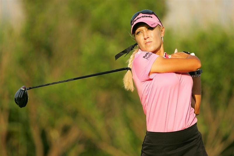 GALLOWAY, NJ - JUNE 19: Natalie Gulbis watches her drive during the second round of the ShopRite LPGA Classic held at Dolce Seaview Resort (Bay Course) on June 19, 2010 in Galloway, New Jersey.  (Photo by Michael Cohen/Getty Images)