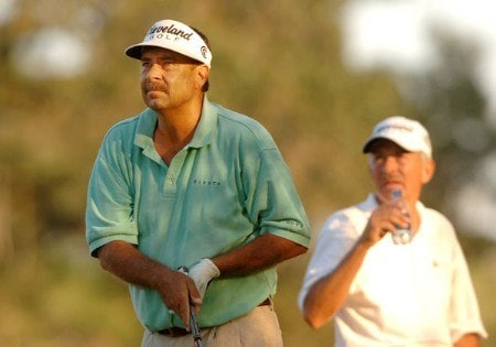 Brad Bryant hits from the 18th tee as Morris Haltasky looks on during the second round of the Champion's TOUR Administaff Small Business Classic at Augusta Pines Country Club in Spring, Texas October 15, 2005Photo by Steve Grayson/WireImage.com