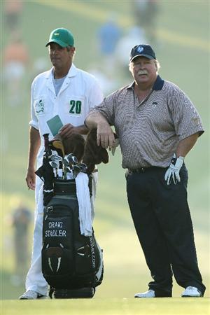 AUGUSTA, GA - APRIL 08:  Craig Stadler (R) looks on from the first hole while alongside his caddie Jeff Dolf during the first round of the 2010 Masters Tournament at Augusta National Golf Club on April 8, 2010 in Augusta, Georgia.  (Photo by Andrew Redington/Getty Images)