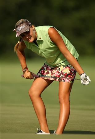 BETHLEHEM, PA - JULY 10:  Amatuer Alexis Thompson reacts to missing a putt on the 18th hole during the second round of the 2009 U.S. Women's Open at Saucon Valley Country Club on July 10, 2009 in Bethlehem, Pennsylvania.  (Photo by Streeter Lecka/Getty Images)