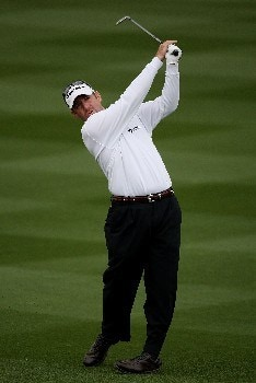 MARANA, AZ - FEBRUARY 22:  Rod Pampling of Australia hits his second shot on the 18th hole during the third round matches of the WGC-Accenture Match Play Championship at The Gallery at Dove Mountain on February 22, 2008 in Marana, Arizona.  (Photo by Travis Lindquist/Getty Images)