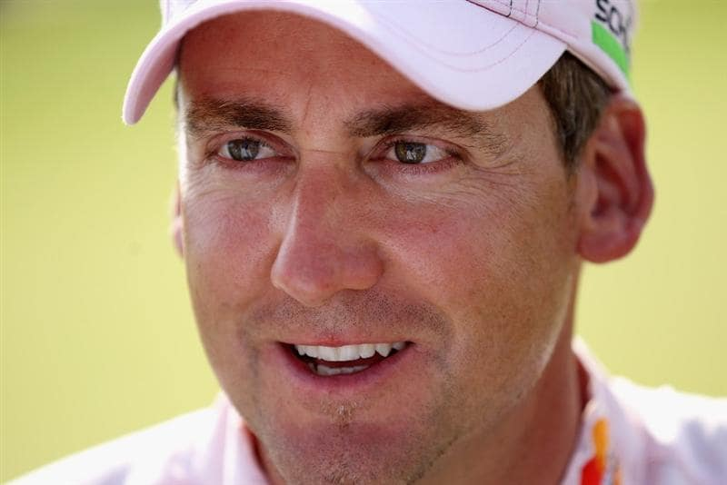 CASARES, SPAIN - MAY 22:  A portrait of Ian Poulter of England just after winning the Volvo World Match Play Championship at Finca Cortesin on May 22, 2011 in Casares, Spain.  (Photo by Warren Little/Getty Images)