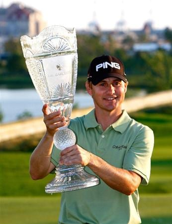 JERSEY CITY, NJ - AUGUST 30:  Heath Slocum poses with the championship trophy after winning The Barclays on August 30, 2009 at Liberty National in Jersey City, New Jersey.  (Photo by Kevin C. Cox/Getty Images)