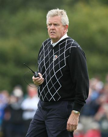 NEWPORT, WALES - OCTOBER 02:  Europe Team Captain Colin Montgomerie watches the action during the rescheduled Afternoon Foursome Matches during the 2010 Ryder Cup at the Celtic Manor Resort on October 2, 2010 in Newport, Wales.  (Photo by Andy Lyons/Getty Images)