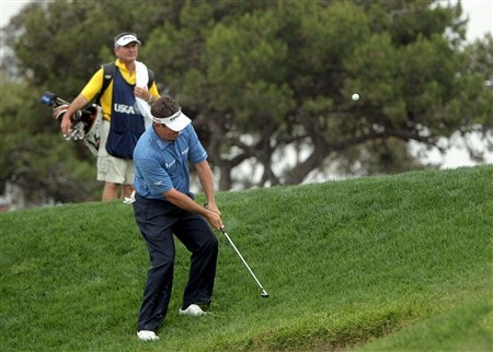 SAN DIEGO - JUNE 13:  Lee Westwood of England hits his third shot on the second hole during the second round of the 108th U.S. Open at the Torrey Pines Golf Course (South Course) on June 13, 2008 in San Diego, California.  (Photo by Doug Pensinger/Getty Images)
