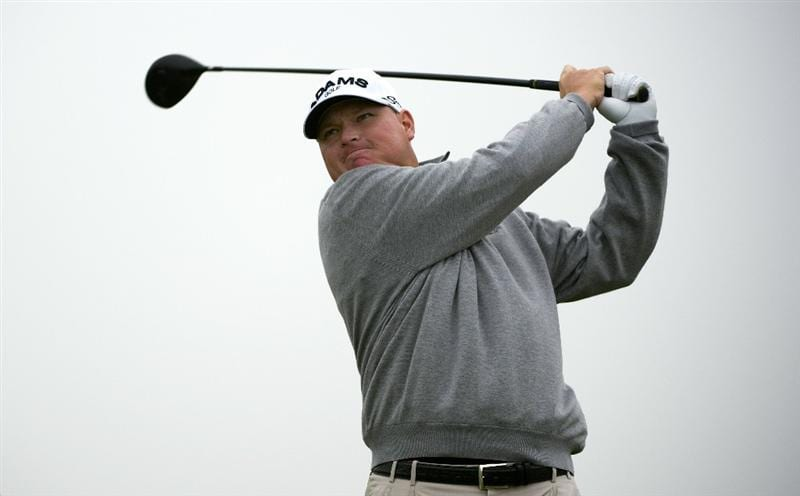 SAN MARTIN, CA - OCTOBER 16:  Chad Campbell makes a tee shot on the fourth hole during the third round of the Frys.com Open at the CordeValle Golf Club on October 16, 2010 in San Martin, California.  (Photo by Robert Laberge/Getty Images)