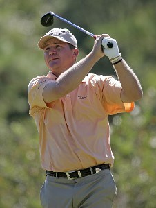 Jason Bohn watches his tee shot on the 16th hole during the second round of the Southern Farm Bureau Classic at Annandale Golf Club in Madison, Mississippi, on September 29, 2006. Photo by Hunter Martin/WireImage.com