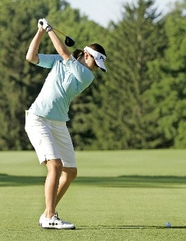 SYLVANIA, OH - JULY 12:  Stacy Prammanasudh hits her tee shot on the 10th hole during the first round of the Jamie Farr Owens Corning Classic at Highland Meadows Golf Club July 12, 2007 in Sylvania, Ohio. (Photo by Hunter Martin/Getty Images)