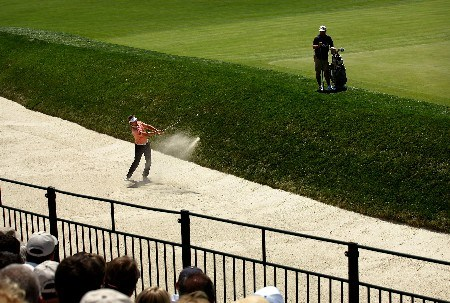 OAKMONT, PA - JUNE 15:  Ricky Barnes hits out of a bunker on the 15th hole during the second round of the 107th U.S. Open Championship at Oakmont Country Club on June 15, 2007 in Oakmont, Pennsylvania.  (Photo by Harry How/Getty Images)