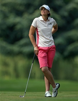 EVIAN, FRANCE - JULY 25: Juli Inkster of the USA is pictured on the 1st hole during the second round of the Evian Masters on July 25, 2008 at the Evian Masters Golf Club in Evian, France.  (Photo by Andy Lyons/Getty Images)